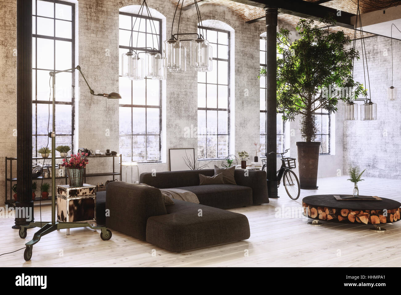 Large spacious converted industrial loft interior with tall arched ...
