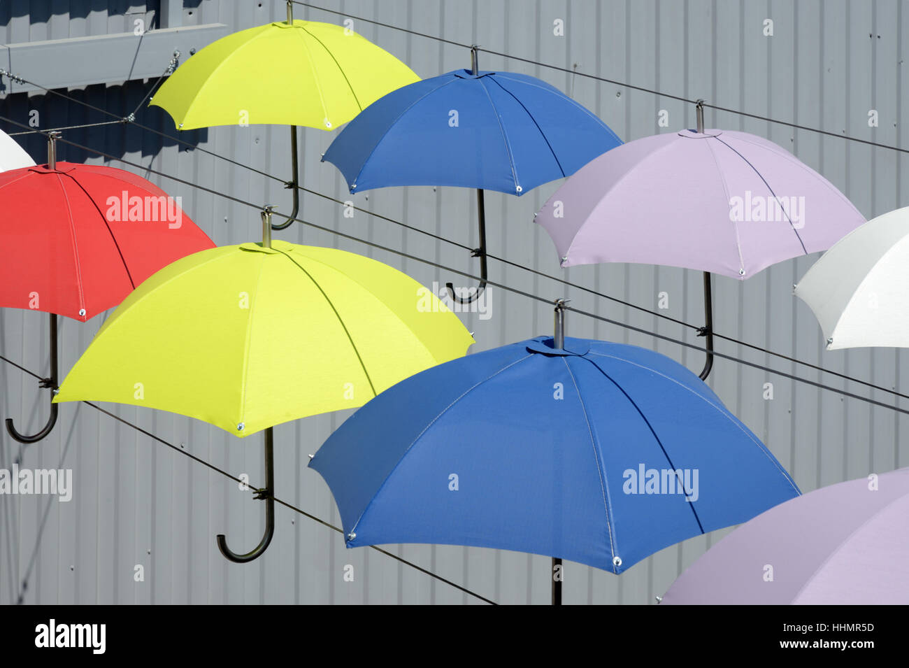 Multi-Colored Umbrellas or Umbrella Art Installation Aix-en-Provence Provence France - Stock Image