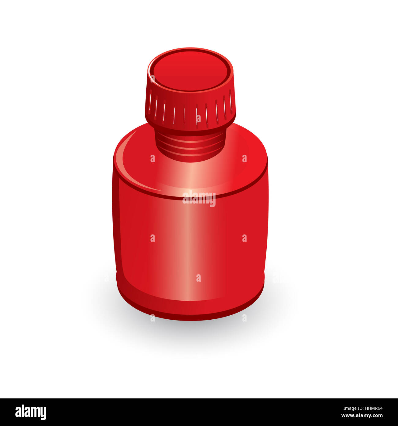 Medical bottle of red. Illustration on white background - Stock Image