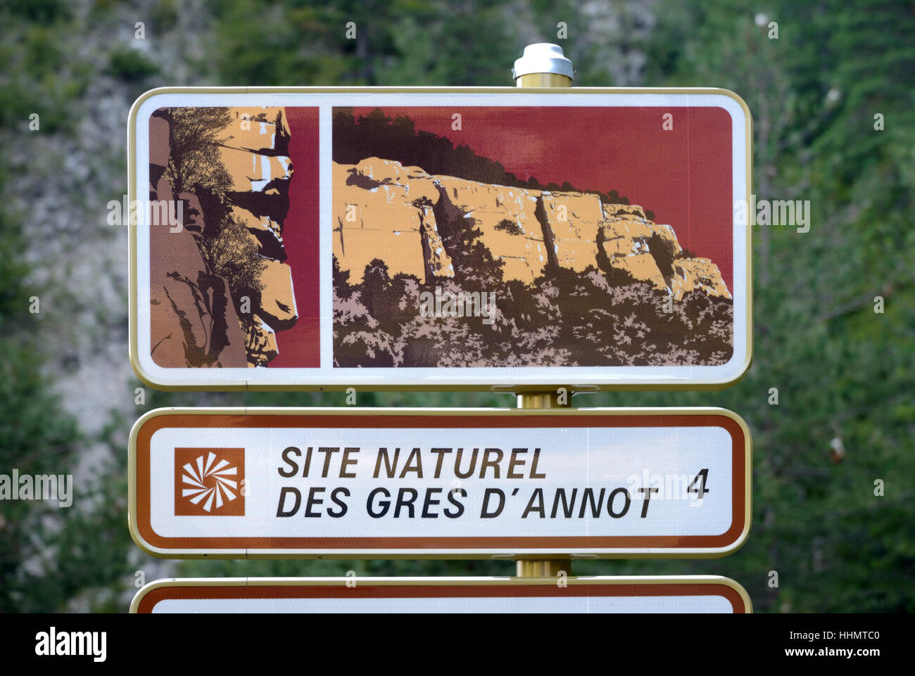 Road Sign Advertising the Sandstone Outcrops or Grès Rock Formations at Annot Alpes-de-Haute-Provence Provence - Stock Image