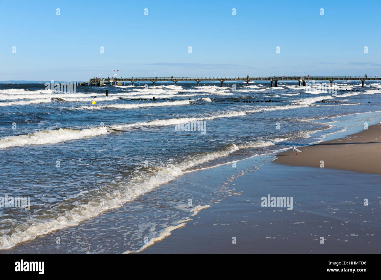 Pier at Seebad Bansin, seaside resort, Usedom, Mecklenburg-Western Pomerania, Germany - Stock Image