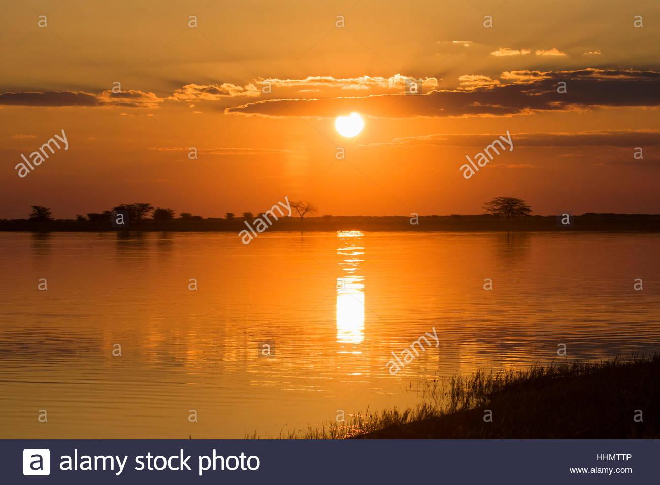Sunset at the water, Nata Bird Sanctuary, Botswana Stock Photo