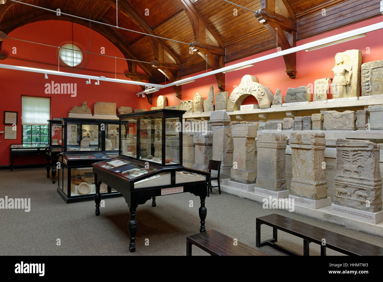 Roman finds, Clayton Museum, Chesters Roman Fort, Chollerford, Hexham, Northumberland, England - Stock Image