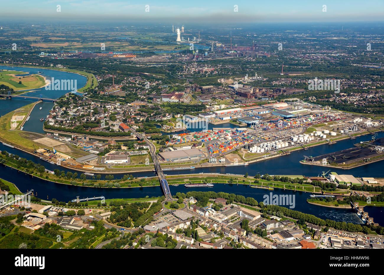 Duisport, inland port, Rhine, Duisburg, Ruhr district, North Rhine-Westphalia, Germany - Stock Image