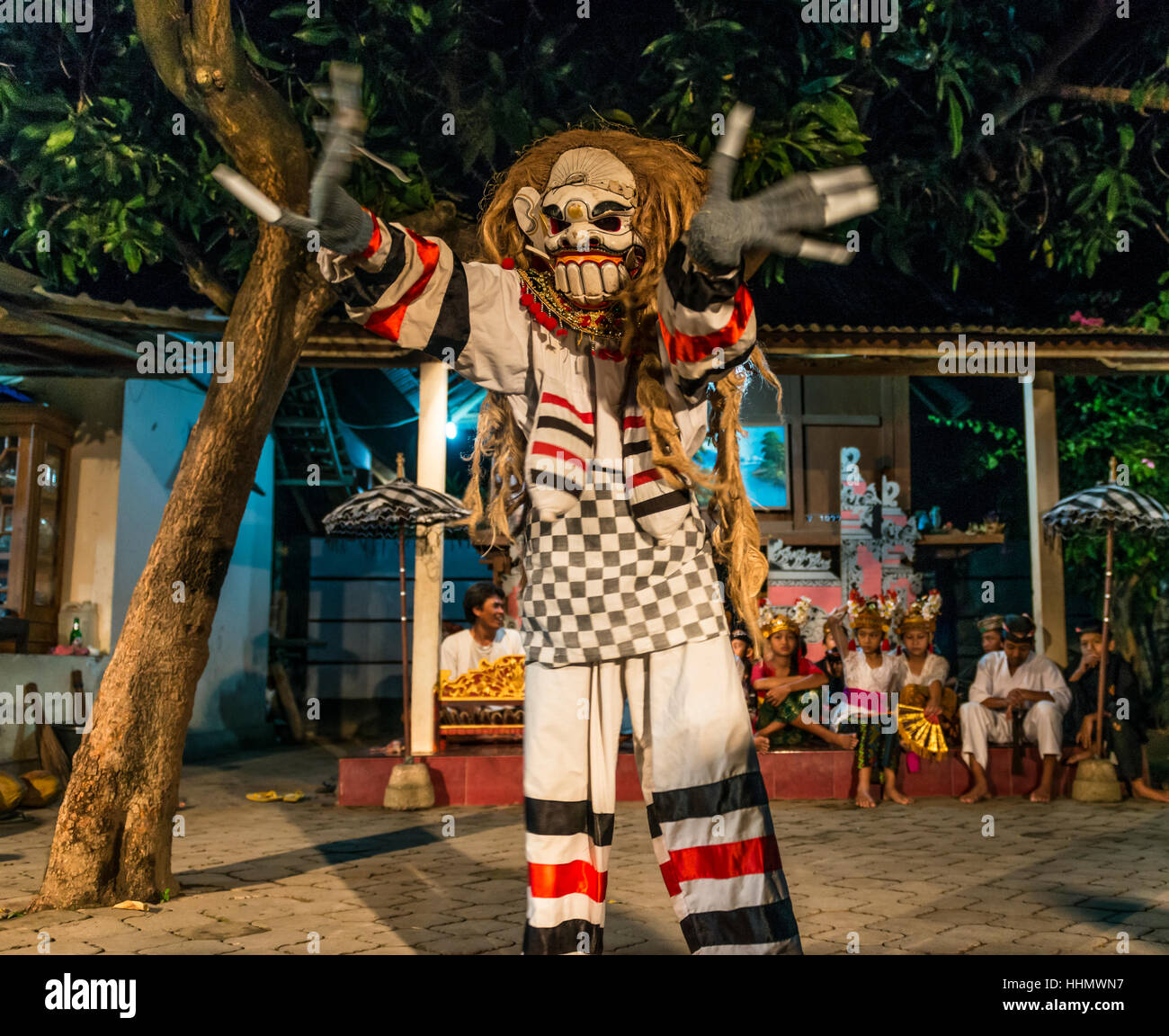 dressed up monster dancing traditional dance and clothing
