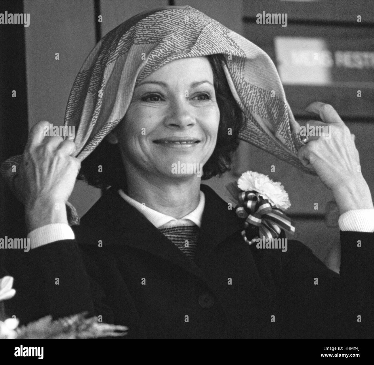 First Lady of the United States, Rosalynn Carter and her fly away scarf at an event in 1979. Stock Photo