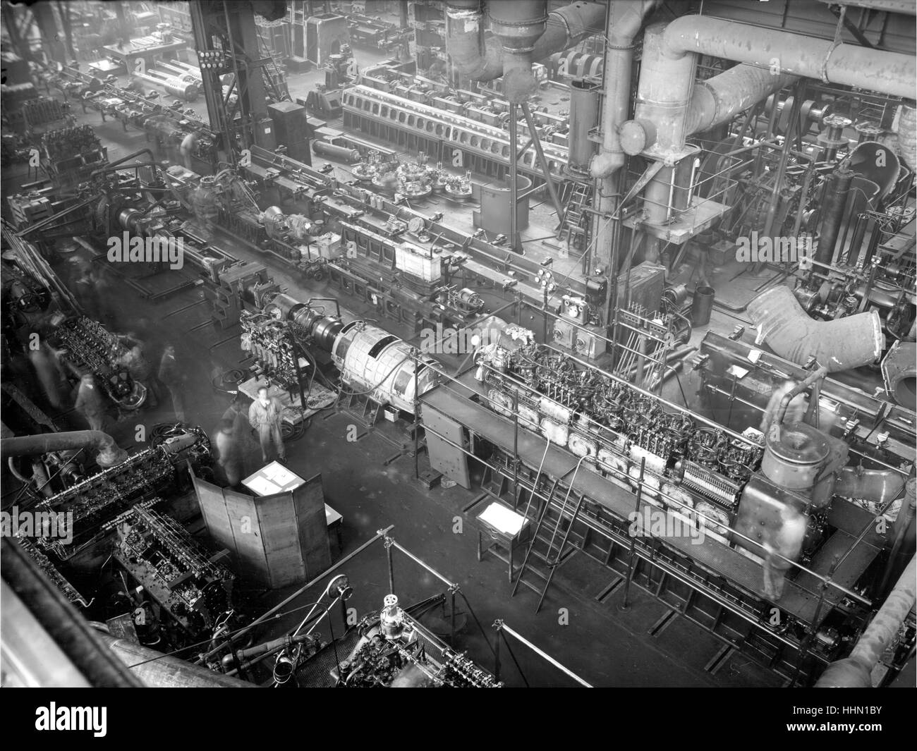 1930 - 40. Fiat - Ansaldo big motors Factory. - Stock Image