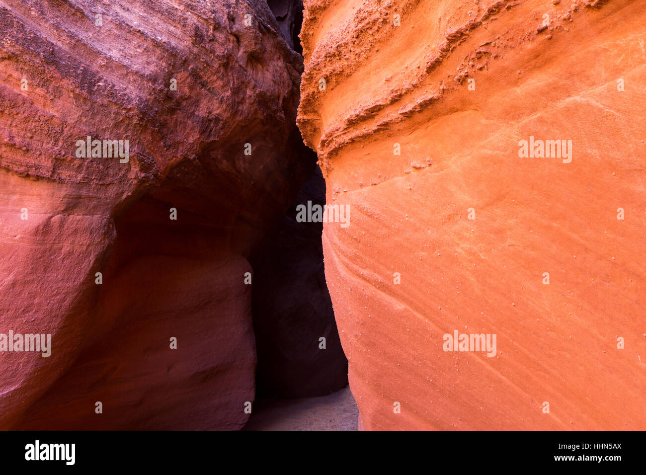 Spooky Slot Canyon creating abstract patterns in the Navajo sandstone. Grand Staircase-Escalante National Monument, Stock Photo