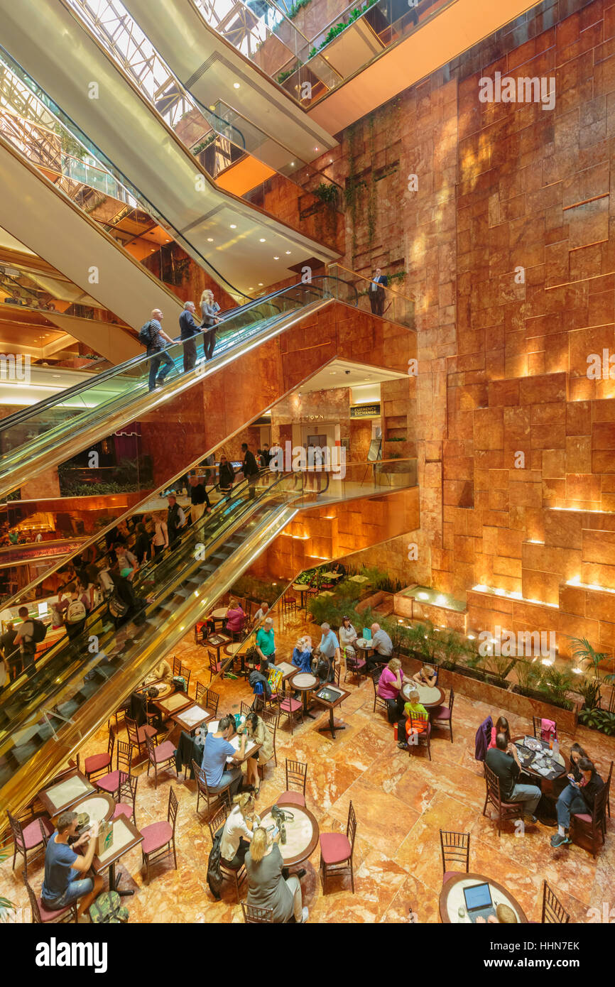 New York, New York State, United States of America.  Interior of Trump Tower on Fifth Avenue. - Stock Image