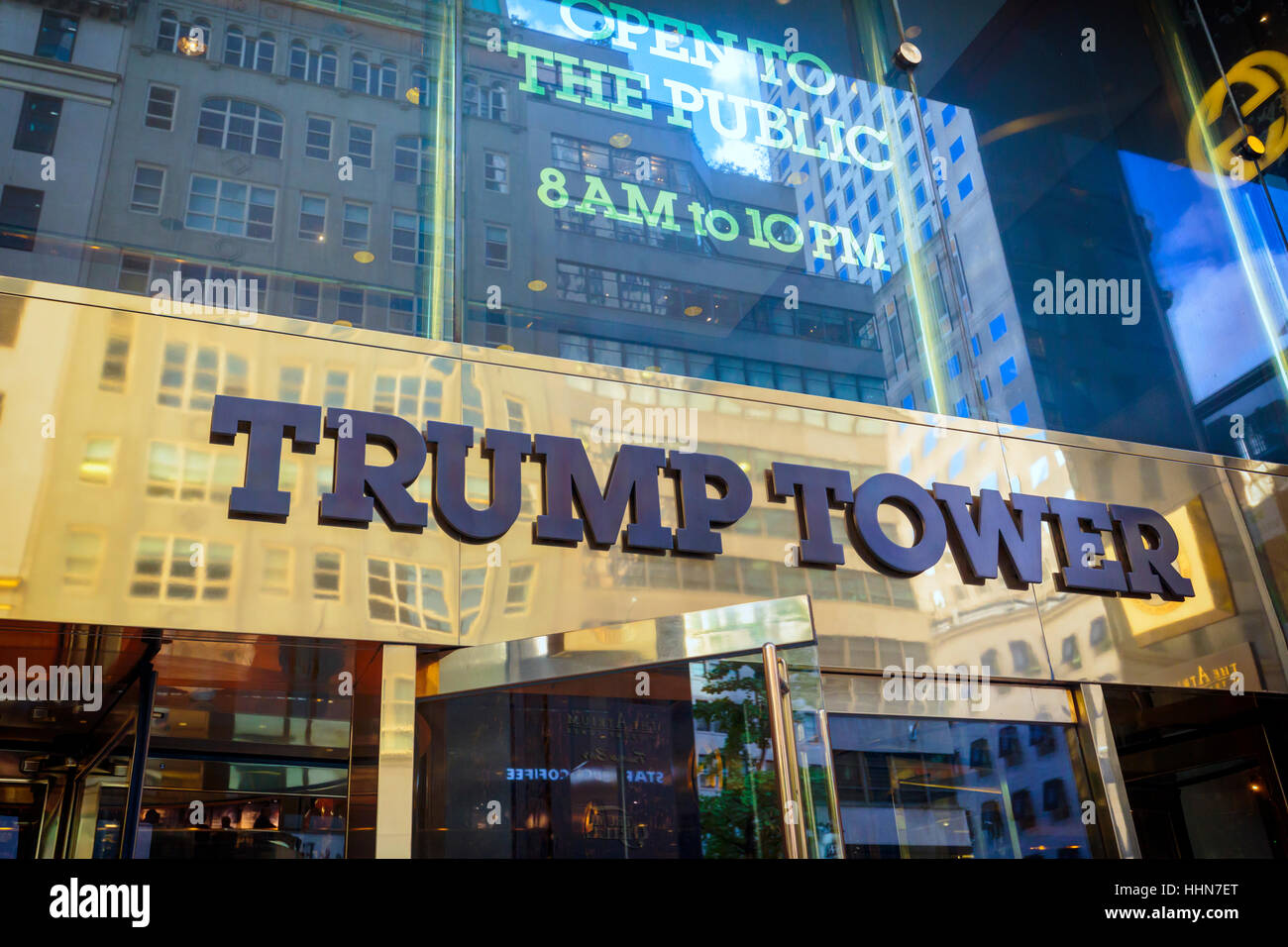 New York, New York State, United States of America.  Exterior of Trump Tower on Fifth Avenue. - Stock Image