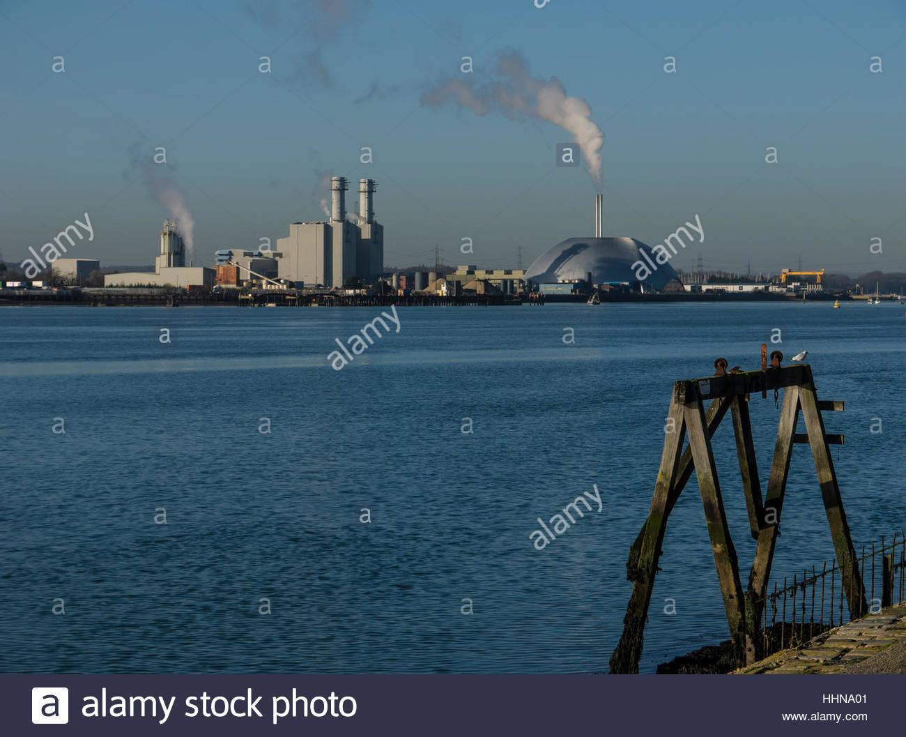 Southampton Hampshire England incinerator in Docks Area - Stock Image
