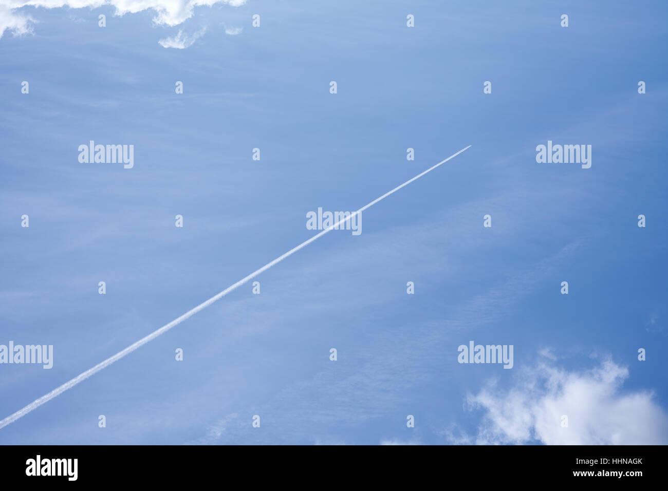 blue, cloud, trail, smudge, firmament, sky, aircraft, aeroplane, plane, - Stock Image