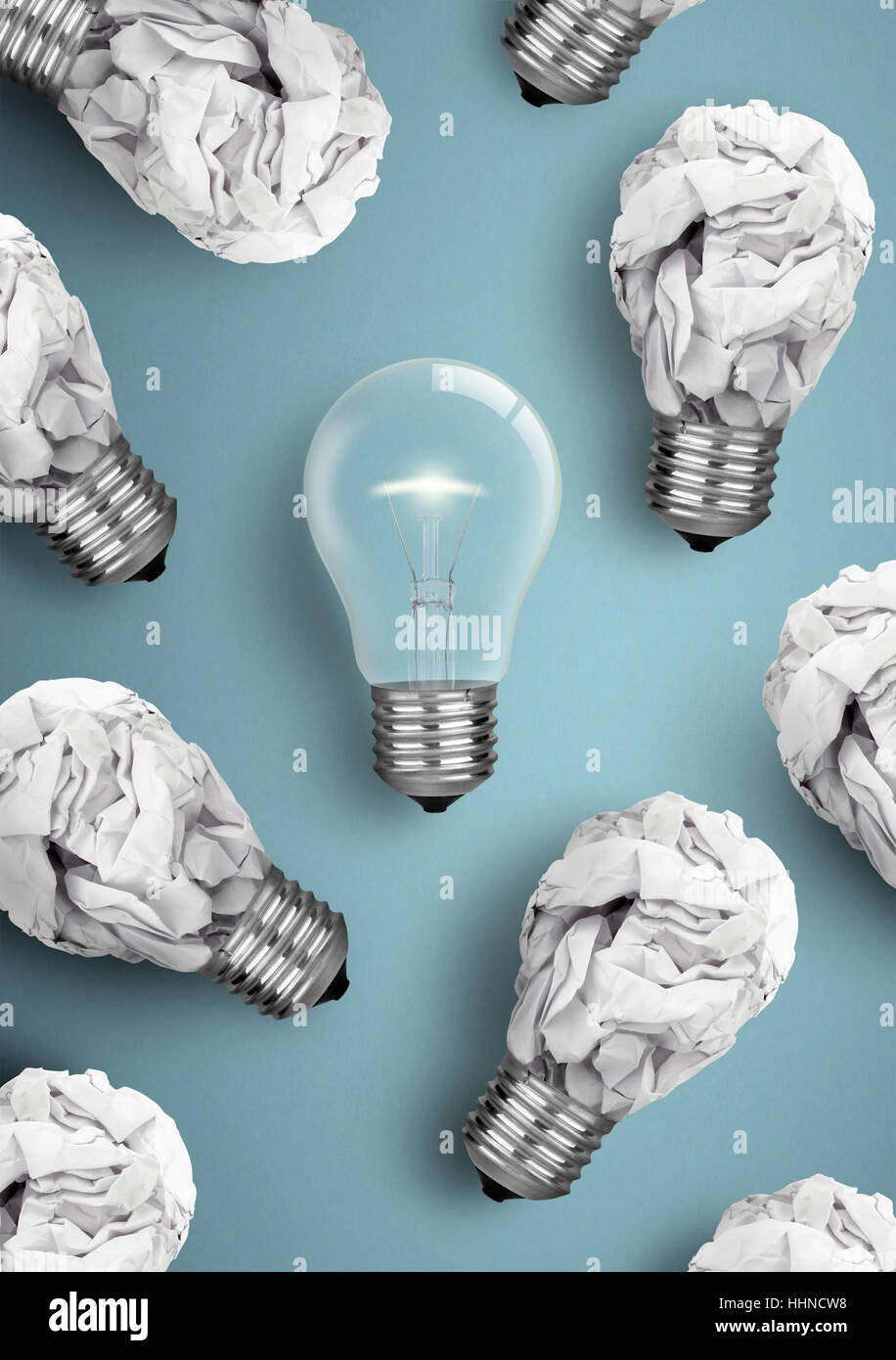 Creative idea concept, crumpled paper bulbs - Stock Image