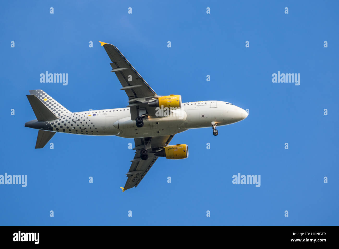 Vueling Airbus A319 Airplane EC-LRS Near Gatwick - Stock Image