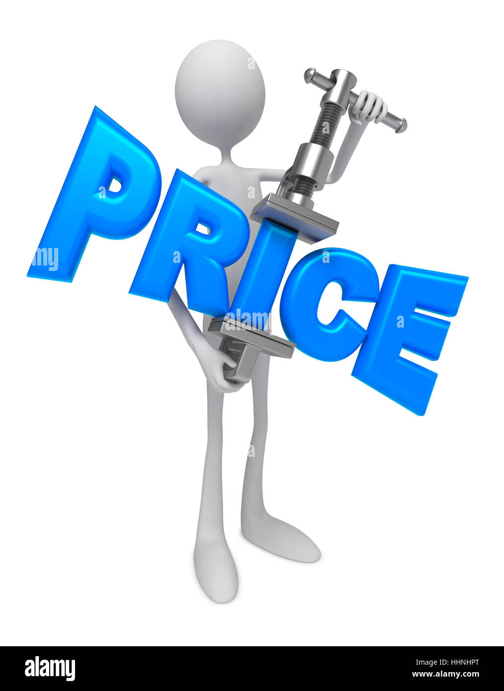 Person Compressing the Prices in Manual Press. Reduction of Prices - Concept. - Stock Image