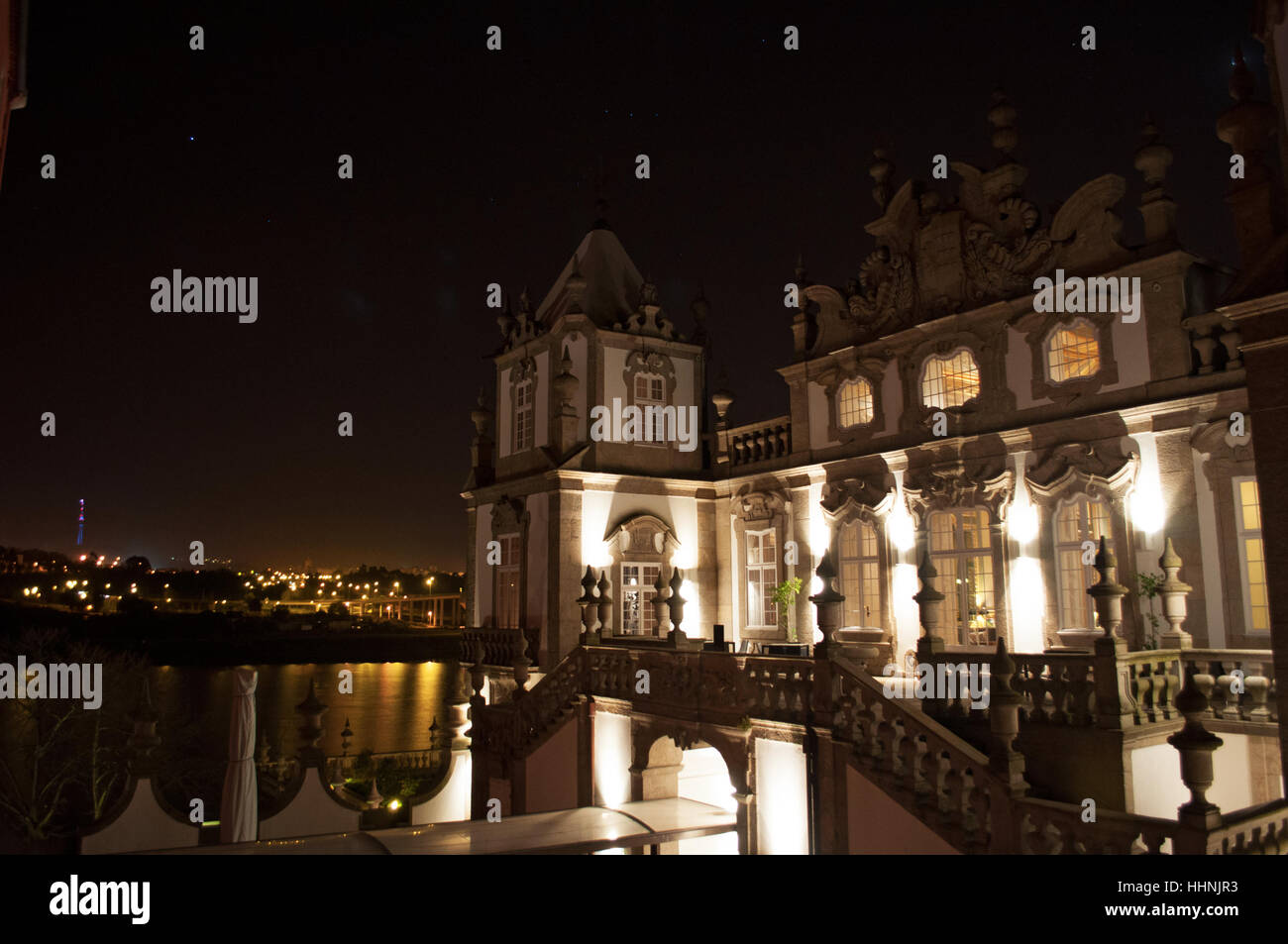 Porto: night view and details of Palace of Freixo, Palacio Do Freixo, formerly a 19th century palace converted in - Stock Image