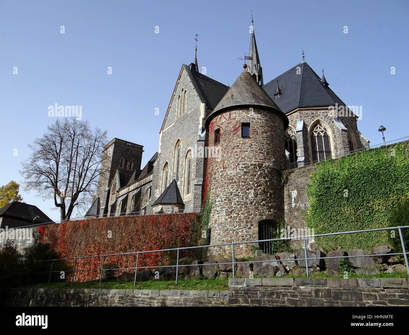 tower, towers, st martinus kirche, martinuns kirche, olpe, sauerland, - Stock Image