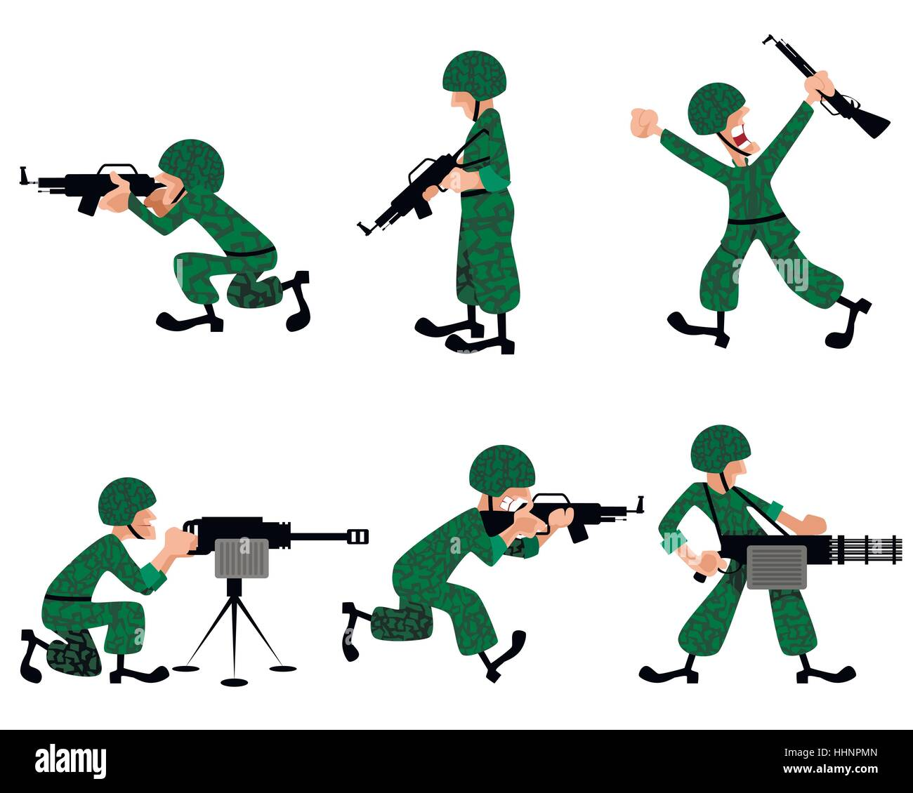 Vector illustration of a six military man - Stock Vector