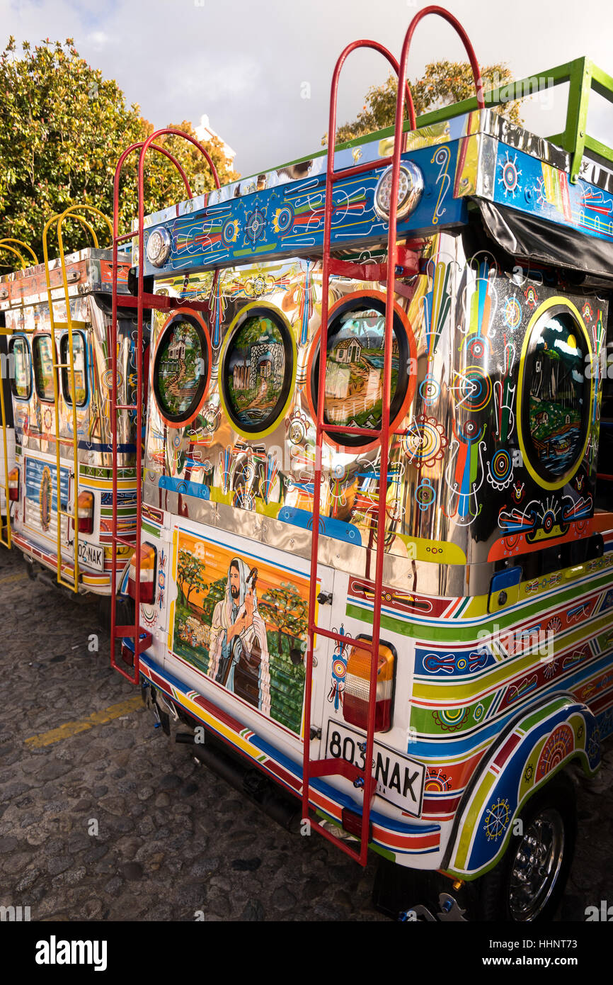 November 3, 2016 Guatape, Colombia: three wheeled motorized mini taxis are extensively decorated, often with religious - Stock Image