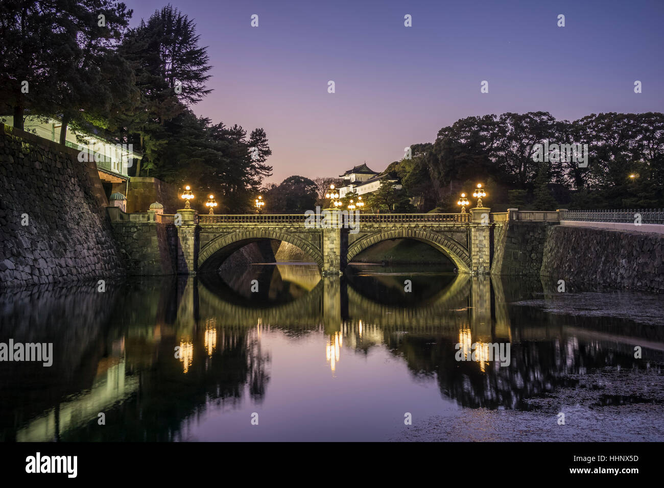 Imperial Palace and Nijubashi Bridge, Tokyo, Japan - Stock Image