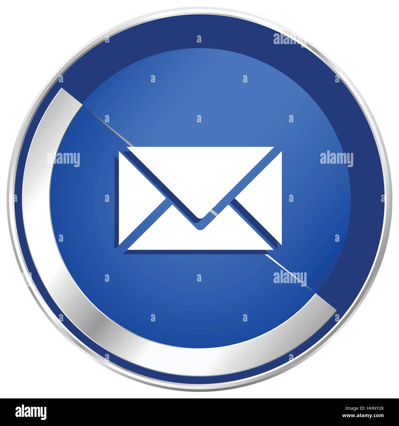 Email silver metallic web and mobile phone vector icon in eps 10. - Stock Image