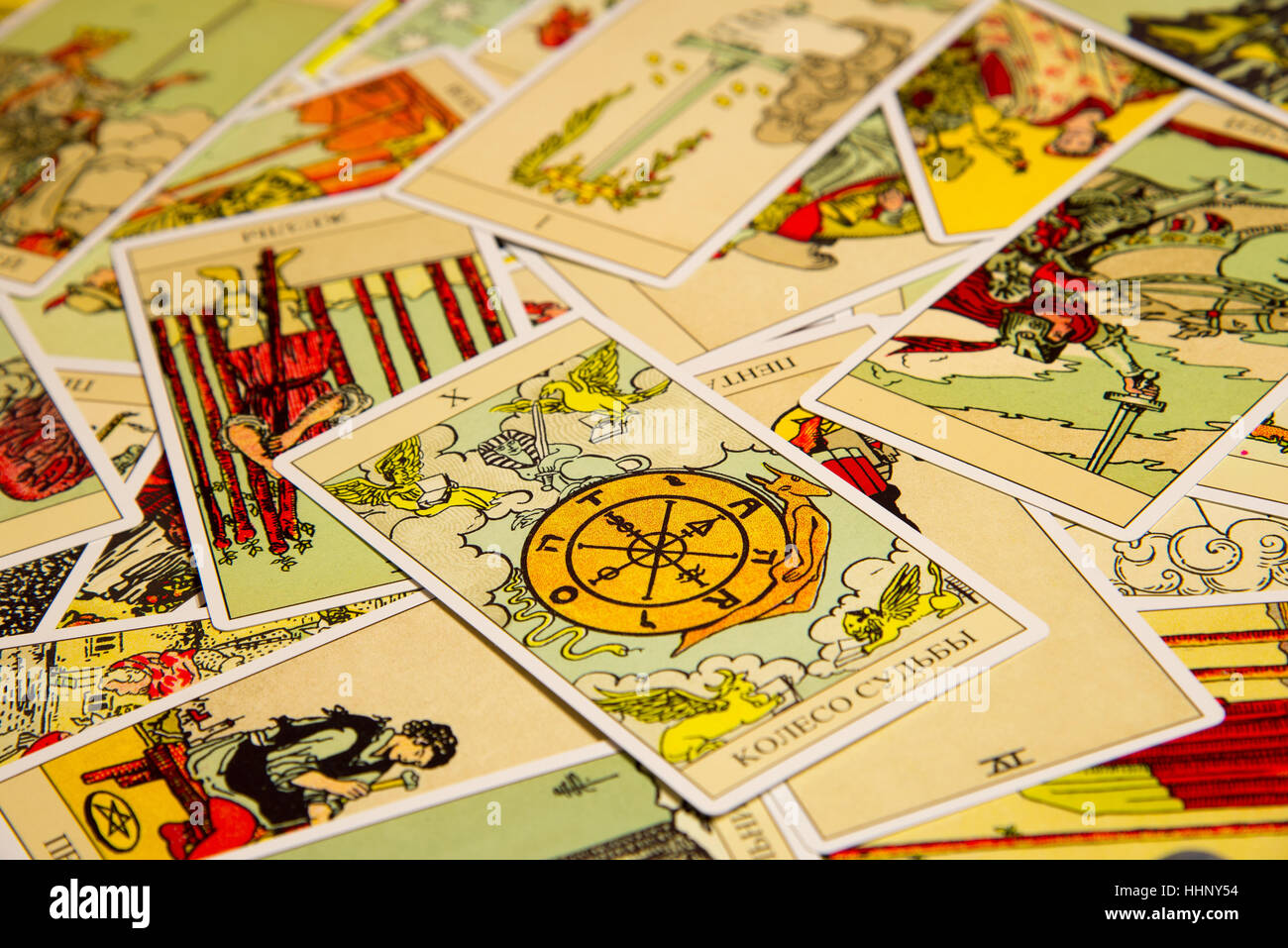 Tarot card Wheel of Fortune. Stock Photo