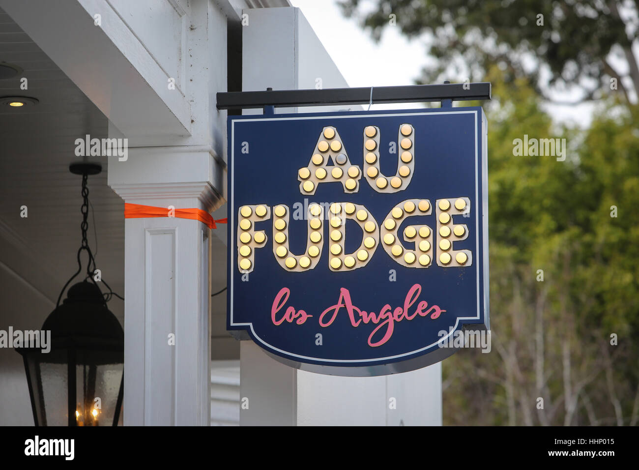 The sign for Au Fudge restaurant in West Hollywood, California. - Stock Image