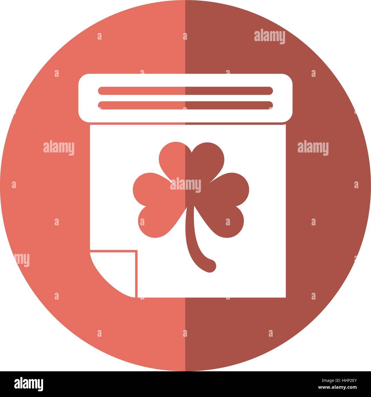 calendar clover st patrick day irish culture shadow - Stock Image