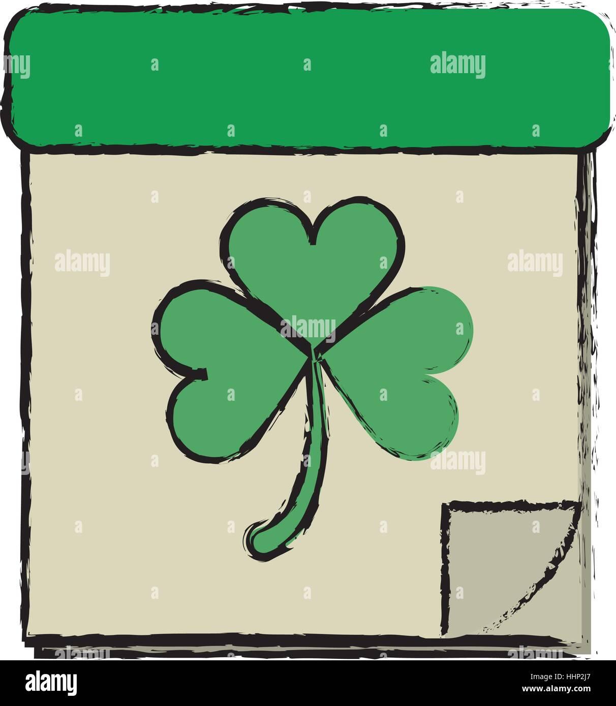 cartoon calendar clover st patrick day irish culture - Stock Image