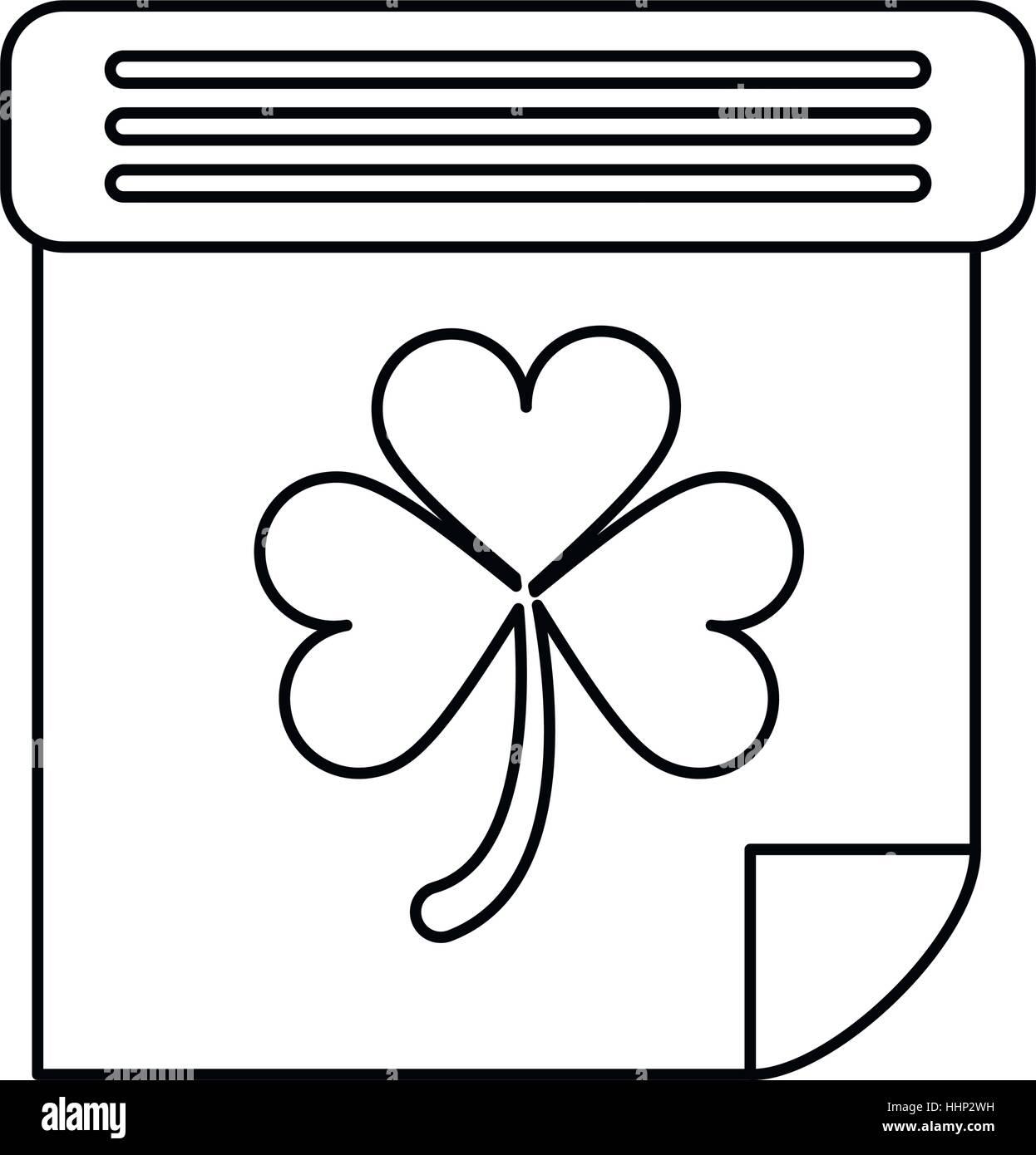 calendar clover st patrick day irish culture outline - Stock Image