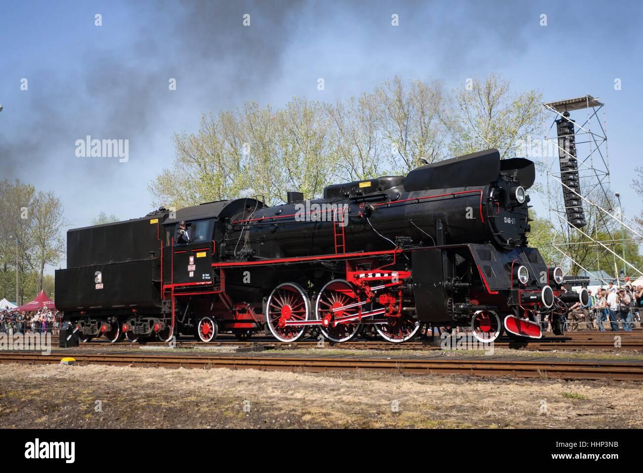 Wolsztyn, Poland - April 28, 2012 Parade of railway locomotives in Wolsztyn in western Poland. Stock Photo