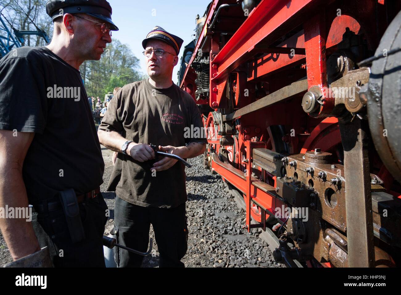 Wolsztyn, Poland - April 28, 2012 Parade of railway locomotives in Wolsztyn in western Poland. Stock Photo