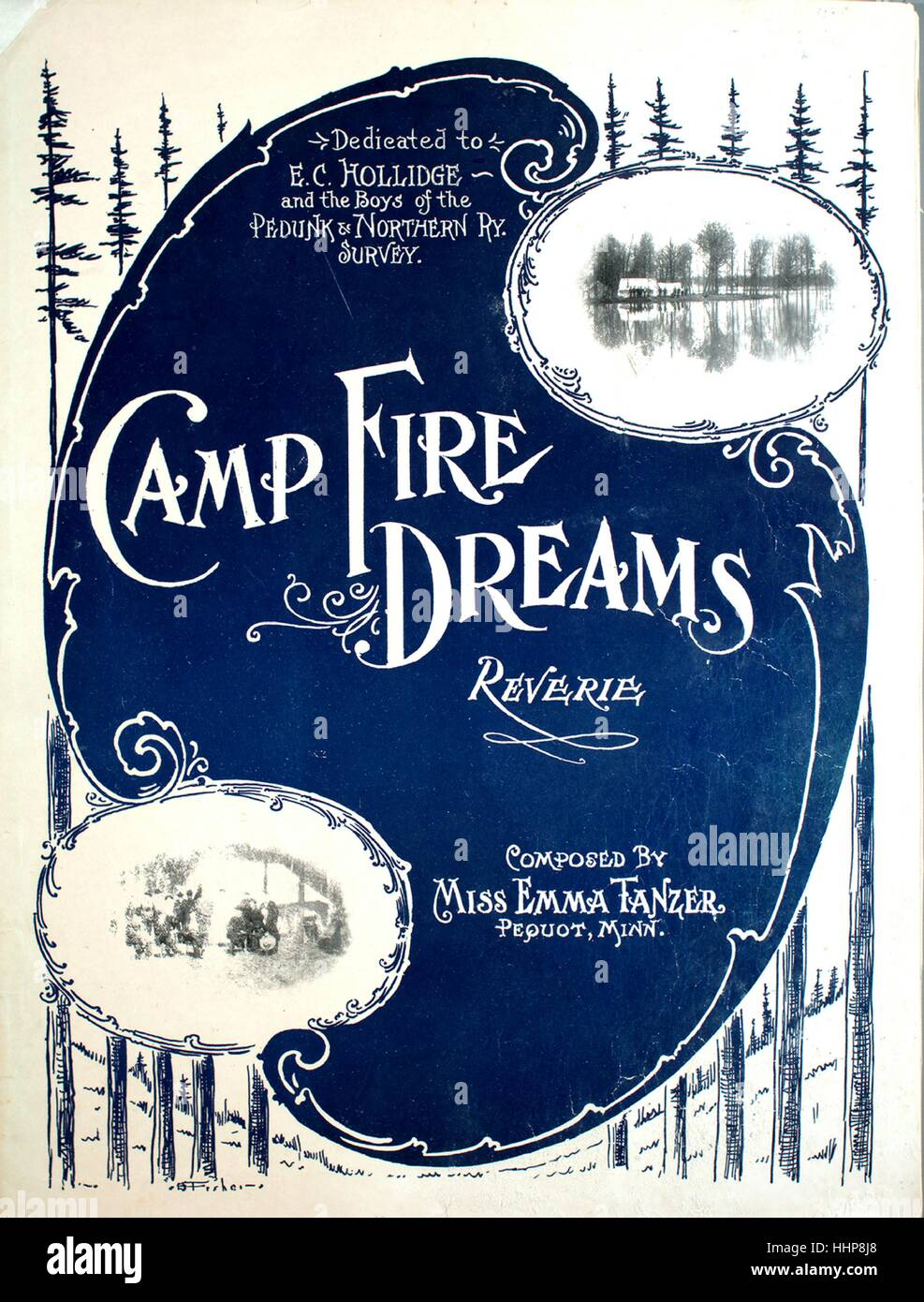 Sheet music cover image of the song 'Camp Fire Dreams Reverie', with original authorship notes reading 'Composed - Stock Image