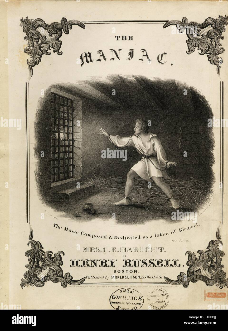 Sheet music cover image of the song 'The Maniac', with original authorship notes reading 'The Music - Stock Image