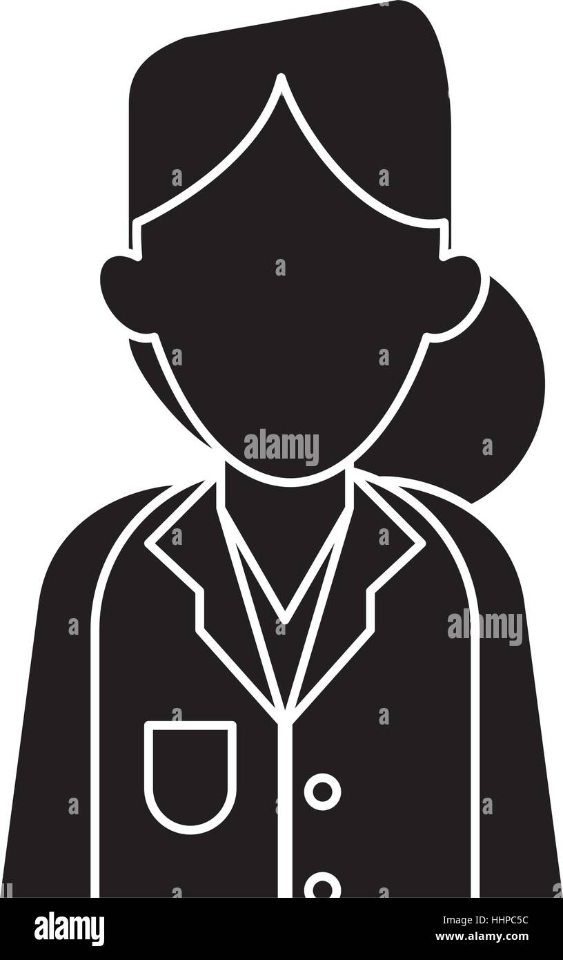 silhouette woman doctor therapist diagnosis - Stock Image
