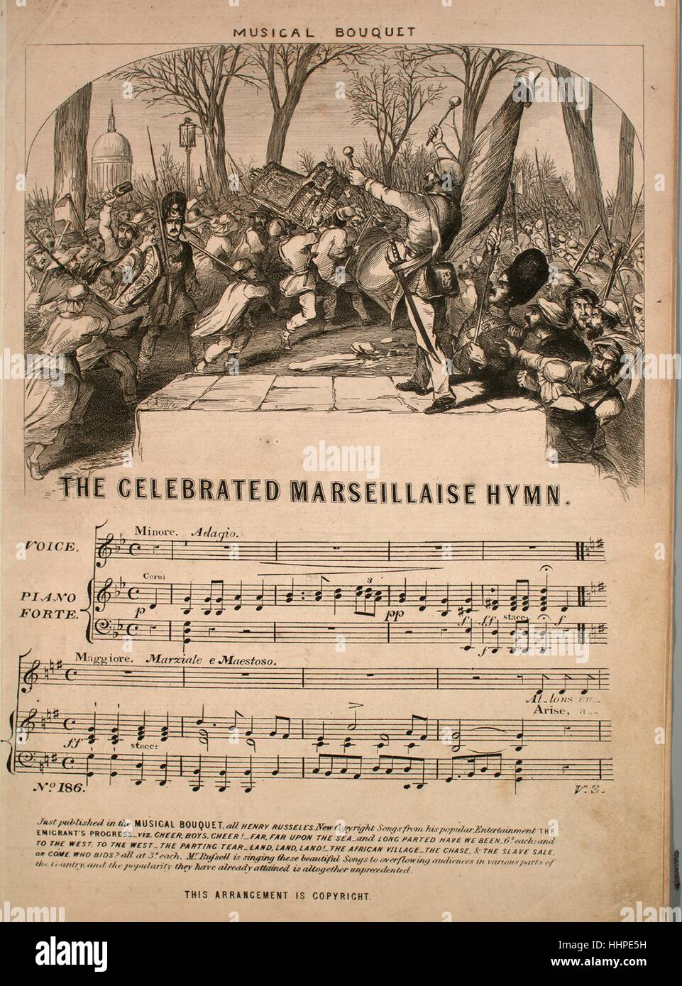 Sheet music cover image of the song 'The Celebrated Marseillaise Hymn Musical Bouquet No 186 [English and French]', - Stock Image