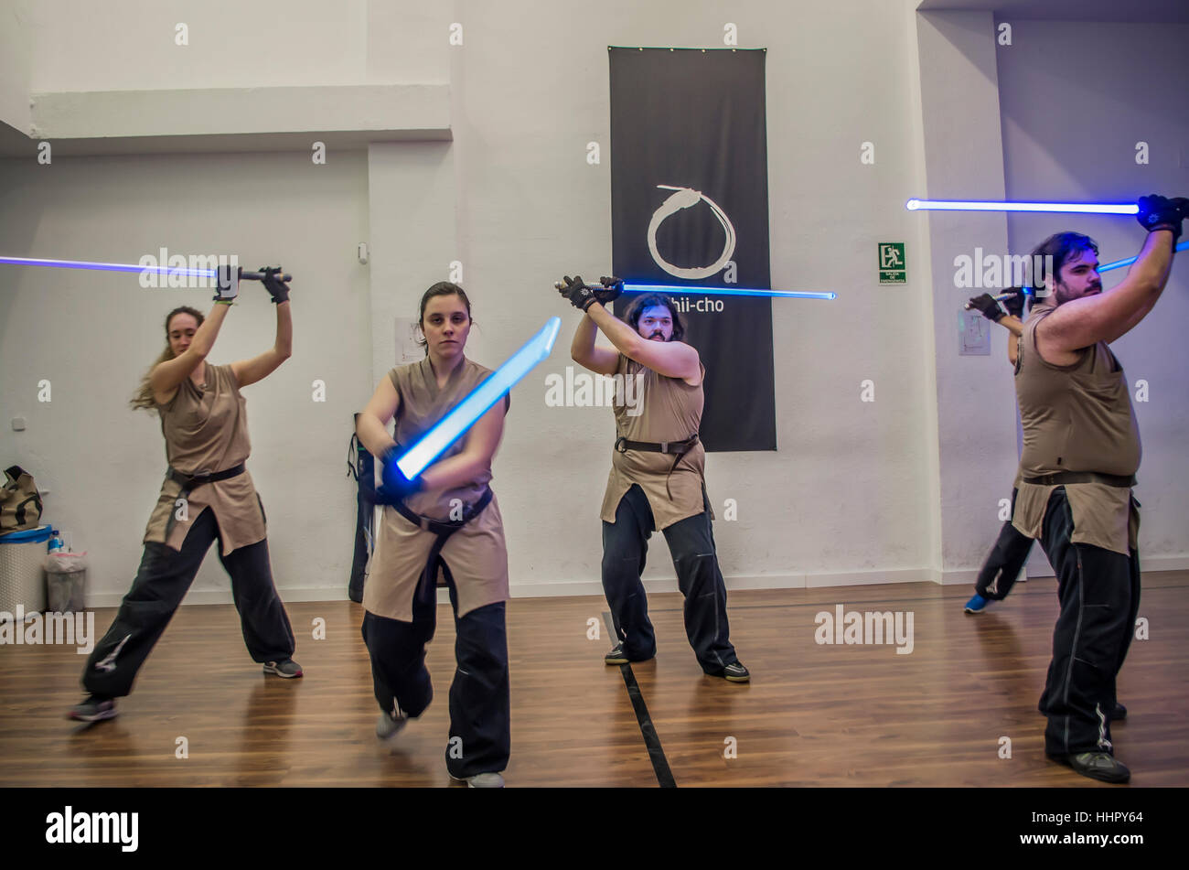 Madrid, Spain. 19th January, 2017. A lightsaber class based on the 'Star Wars' movie franchise takes place - Stock Image