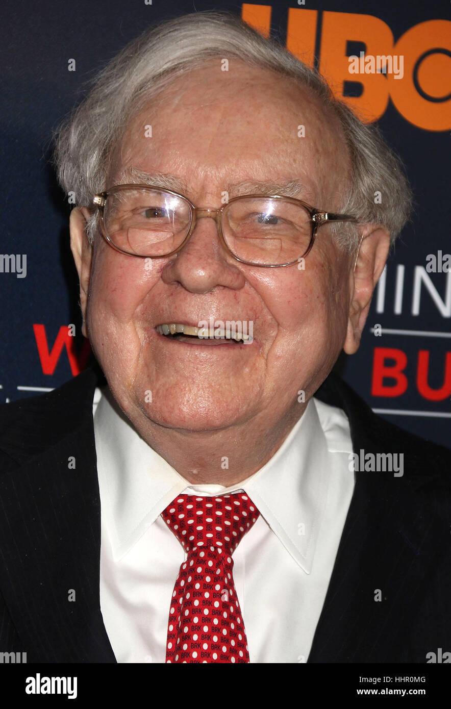 New York, USA. 19th Jan, 2017. Businessman Warren Buffett attends the world premiere of the HBO film 'Becoming Warren Stock Photo