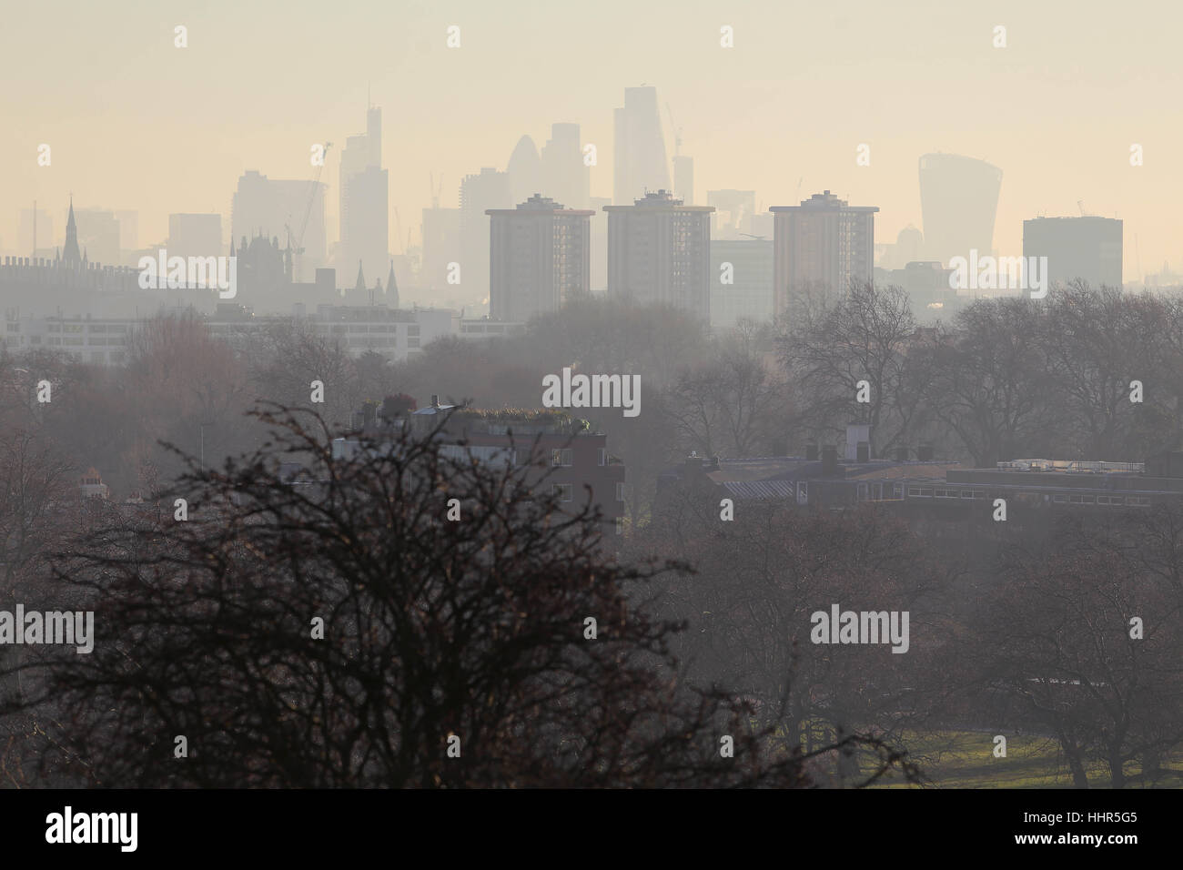 Smog and fumes across Central London from Primrose Hill Nigel Bowles/Alamy - Stock Image