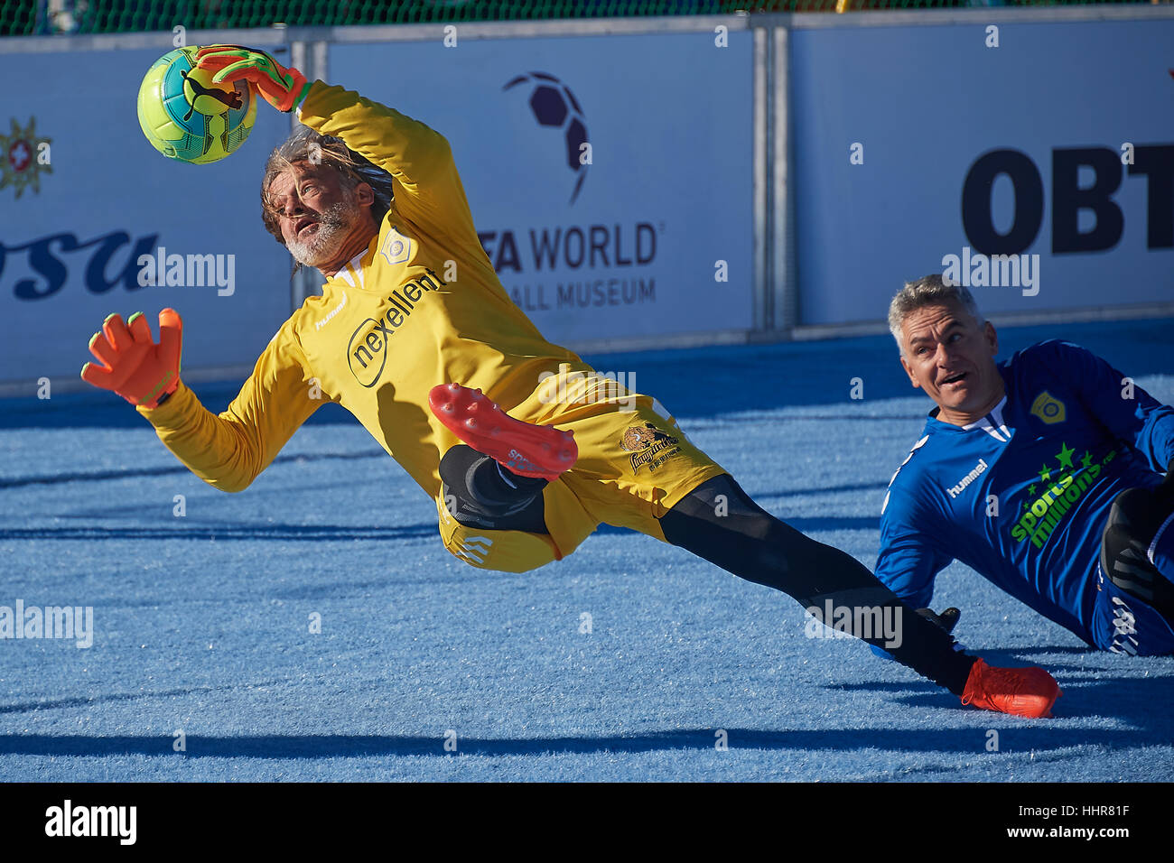 Arosa, Switzerland, 20th January 2017. Swiss goalkeeper Jörg Stiel with a save during the 7th Inofficial Snow - Stock Image