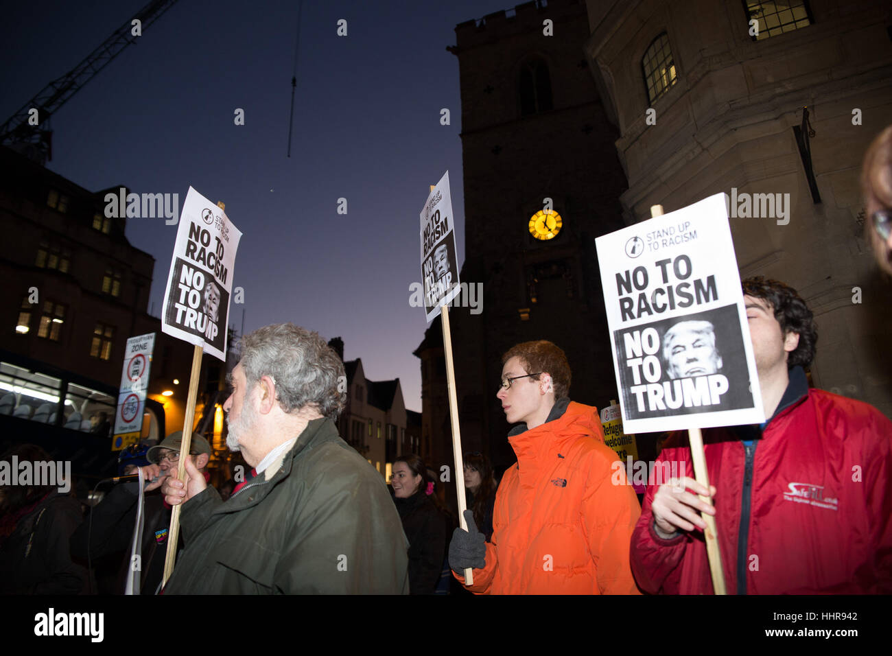 Oxford, UK. 20th January 2017. Anti Trump protesters gathered in front of Carfax Tower in the city to denounce America's - Stock Image