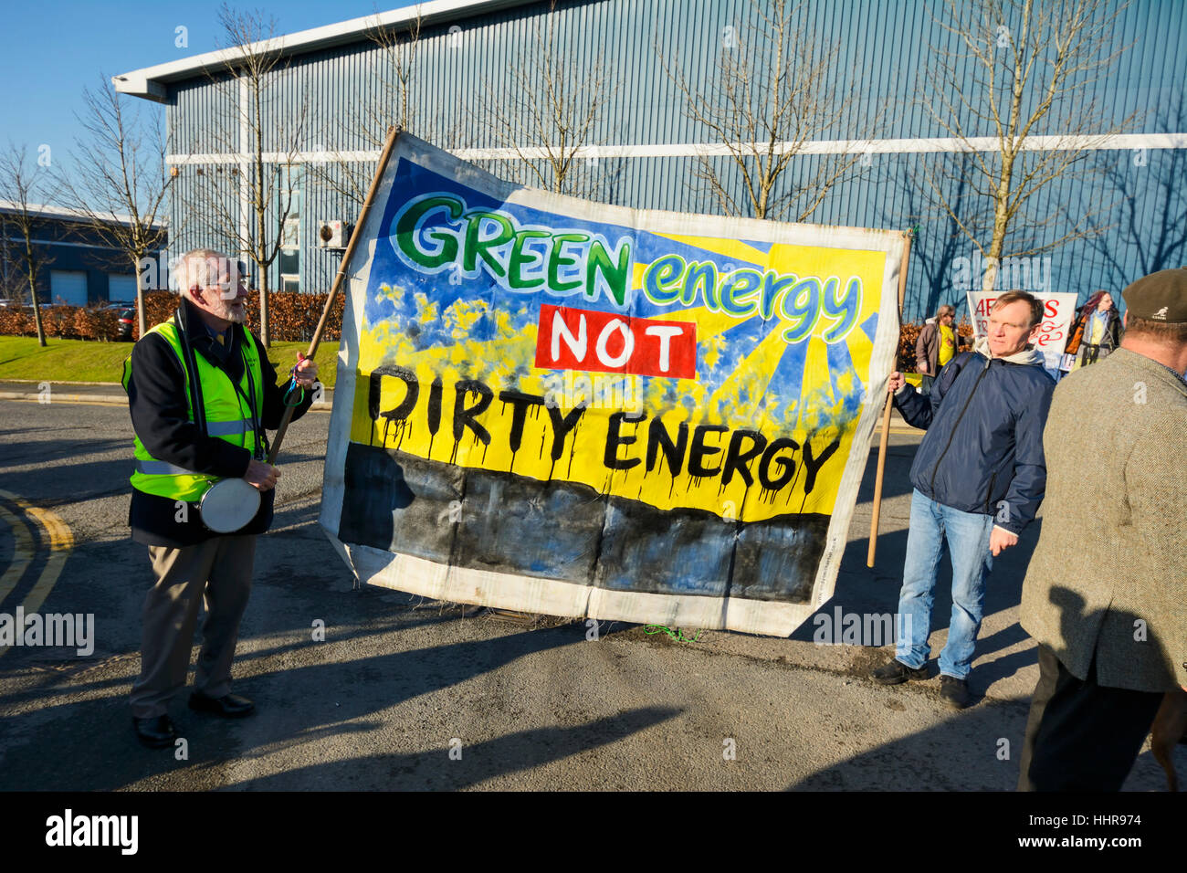 Bolton, Lancashire, UK. 20th January 2017: A small group of protesters blocked the entrance to A E Yates business - Stock Image