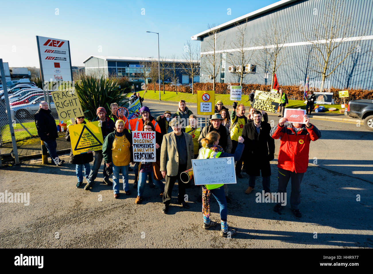 Bolton Lancashire, UK. 20th January 2017: A small group of protesters blocked the entrance to A E Yates business - Stock Image