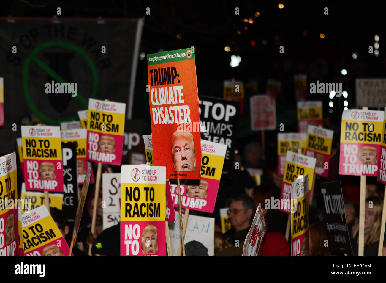 Donald Trump protest outside the US Embassy in London against alleged racist, homophobic and sexist remarks made - Stock Image