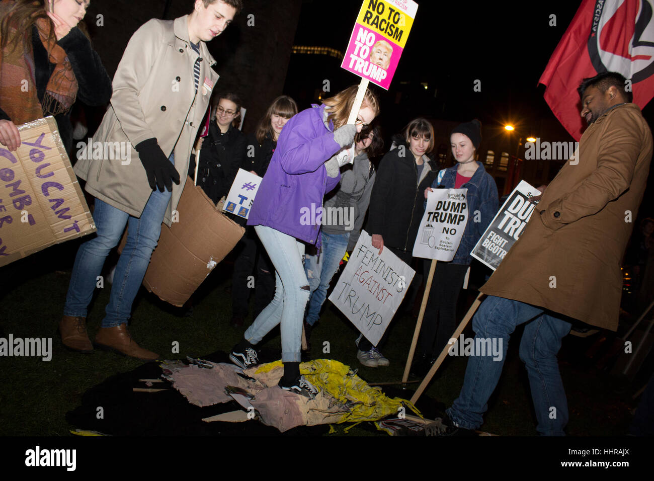 Cardiff, UK. 20th January, 2017. Protesters outside of Cardiff Castle, Wales as part of a demonstration against - Stock Image