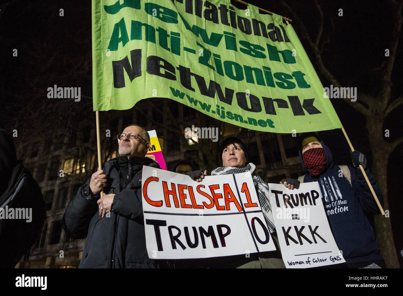 London, UK. 20th January, 2017.  Representatives of Women of Colour and International Jewish Anti-Zionist Network - Stock Image