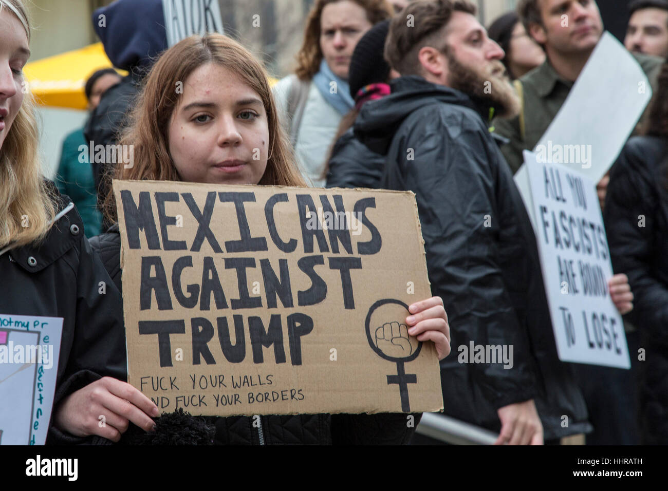 Washington, USA. 20th January, 2017.  Protesters at the inauguration of President Donald Trump. Credit: Jim West/Alamy - Stock Image