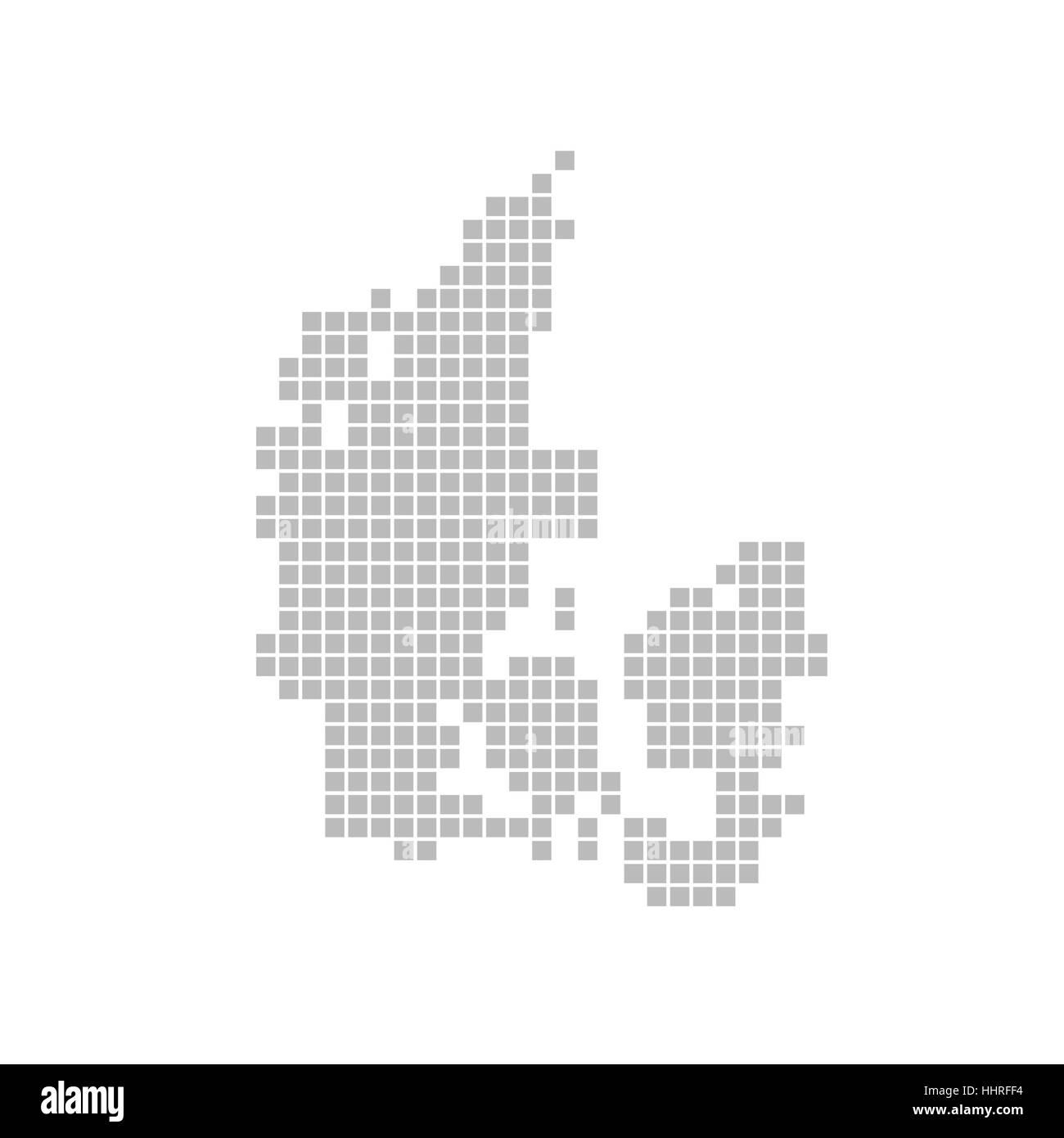 map of pixels: denmark - Stock Image