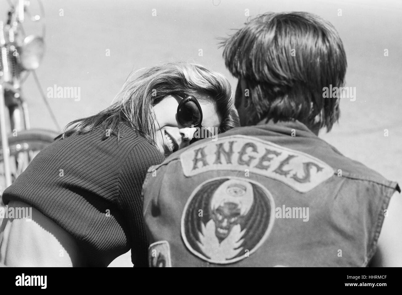 "Nancy Sinatra on the set of the 1966 Roger Corman film, ""The Wild Angels"" - Stock Image"