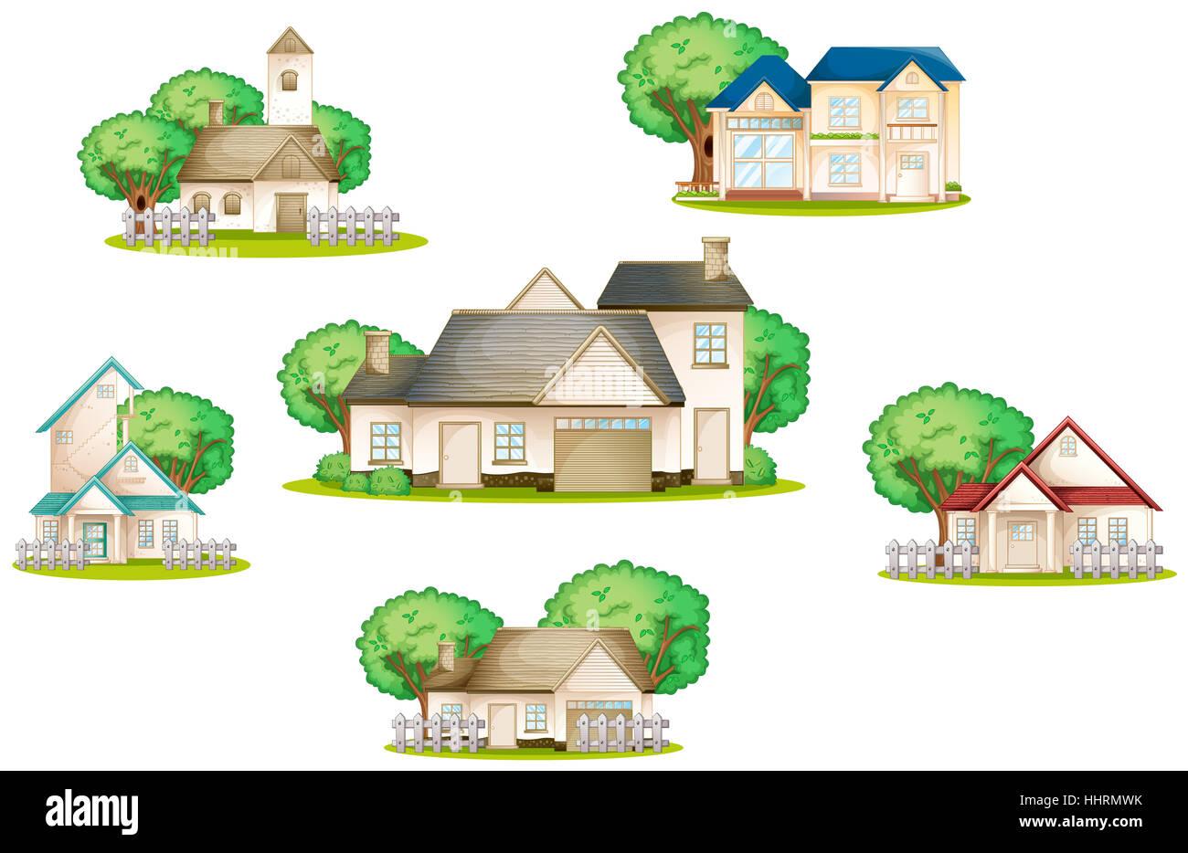 Comic Illustration Cartoon House Building Objects